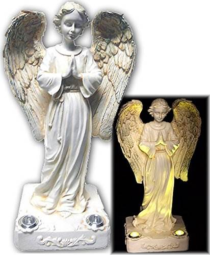 BRILLIANT AND MO Beautiful Praying Solar Angels With 2 Yellow LED Solar Angel