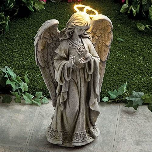 Bits And Pieces &#8211 Solar Garden LED Angel Of Peace Statue With Light-Up