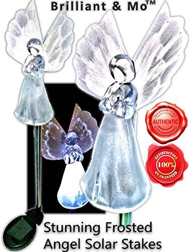 Brilliant &#038 Mo Set Of 2 Gorgeous Frosty Solar Angel Lights Garden Stakes