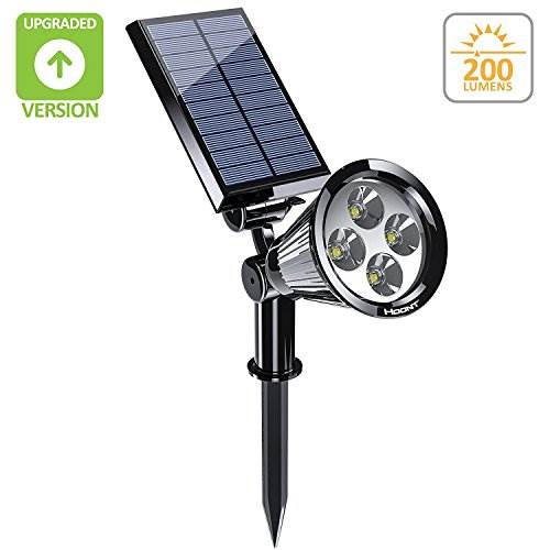Hoont 2-in-1 Bright Outdoor LED Solar Spotlight / Solar Powered Light For