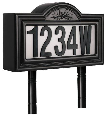 Pine Top 508-0011 Plastic Solar-Powered LED Lighted Address Sign Black