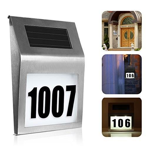 Solar Lighted Address Sign House Number SOONHUA Decorative Plaque Door Number