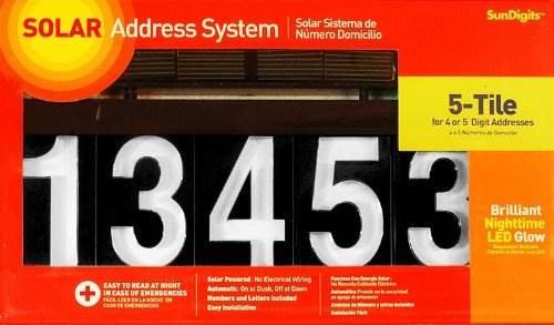 Sundigits 5 Digit Solar Led House Number