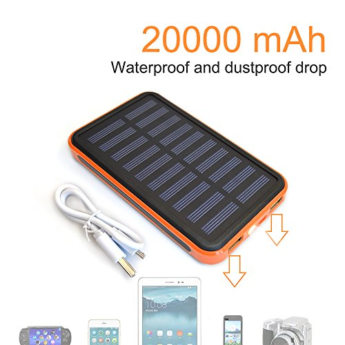 Solar Charger Power 20000 MAh Outdoor Portable Charger Solar Power Bank